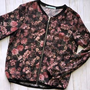 Maurice's Sheer Members Only Jacket Floral Small